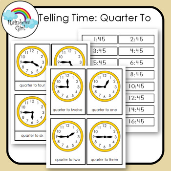 Telling Time Cards - Quarter To