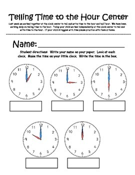 Telling Time Center (to the hour)