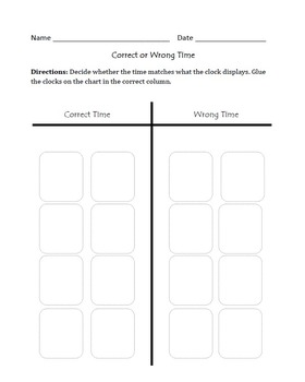 Telling Time : Cut, Sort, & Paste Activity
