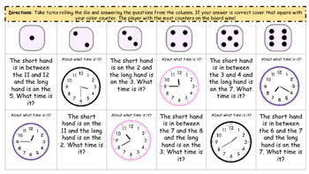 Telling Time Dice Game