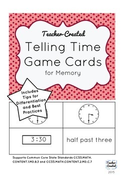 Telling Time Game Cards