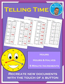 Telling Time (Hours, Hours & Half Hours, 5 Minute Incremen