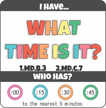 Telling Time I Have Who Has Classroom Game