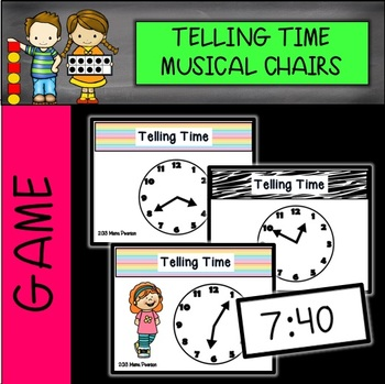 Telling Time Math Musical Chairs Game 5 minute increments