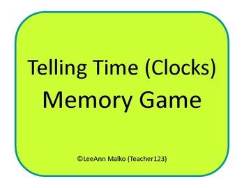 Telling Time Memory Game (Clocks)