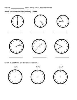 Telling Time Nearest Minute