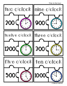 Telling Time Puzzles (Time to the Hour / Half Hour / Quart