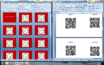 Telling Time QR Code Activity