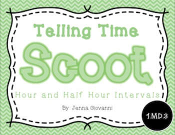 Telling Time Scoot, Hour and Half Hour Intervals: 1.MD.3