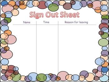 Telling Time- Sign Out Sheet