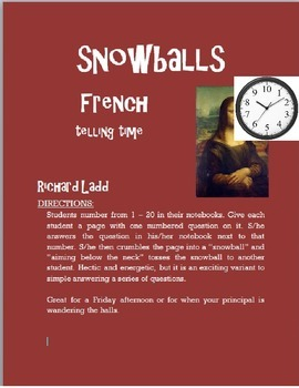 Telling Time Snowballs FRENCH