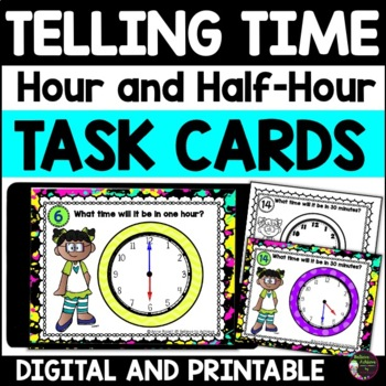 Telling Time (hour and half hour)- 24 Task cards