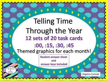 Telling Time Through the Year---12 sets of task cards---15