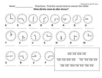 Telling Time Quarter Hours Worksheet