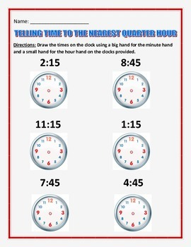 Telling Time by the quarter hour and 5 minutes.