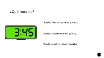 Telling Time in Spanish Practice Activity