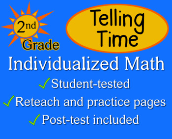 Telling Time, second grade - Individualized Math - worksheets
