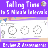Telling Time to 5 Minute Intervals Exit Tickets, Review Ga