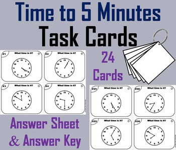 Telling Time to 5 Minutes Task Cards/ Telling Time to Five