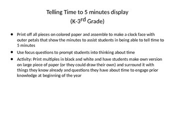 Telling Time to 5 minutes (Display/Activity)