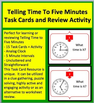 Telling Time to Five Mintues - Task Cards and Engaging Rev