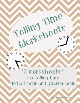 Telling Time to half hour and quarter hour package of 5 pr