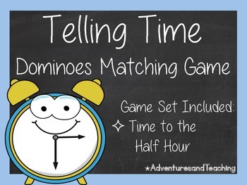 Telling Time to the Half Hour Dominoes Matching Game 1.MD.B.3