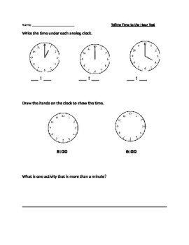 Telling Time to the Hour Assessment and Studyguide