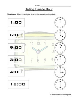 Telling Time to the Hour Clock Worksheet