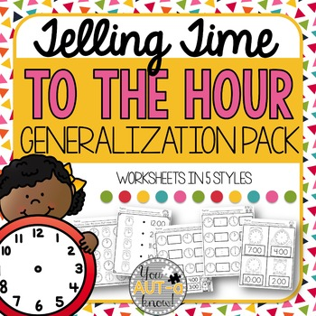 Telling Time to the Hour Generalization Pack