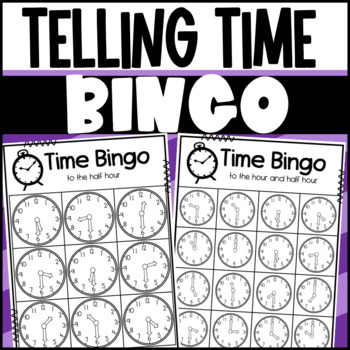Telling Time to the Hour and Half-hour: Board game, Bingo