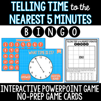 Telling Time to the Nearest 5 Minutes NO PREP Interactive