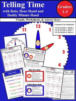 Telling Time with Baby Hour Hand and Daddy Minute Hand