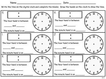 Telling and Writing Time to the Half Hour - First Grade en