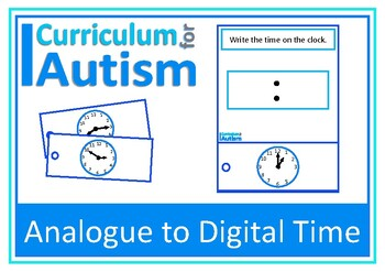 Telling the Time Analogue to Digital Clock Task Cards, Aut