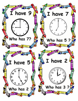 Telling the time Card Game