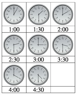 Telling time 3-part cards with lessons