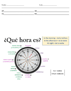 Telling time, Class subjects, Classroom objects and Verbs