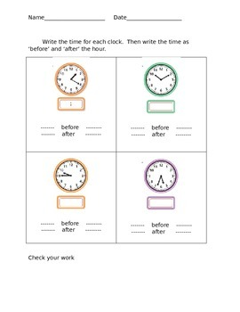 Telling time before and after the hour