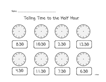 Telling time (half hour)