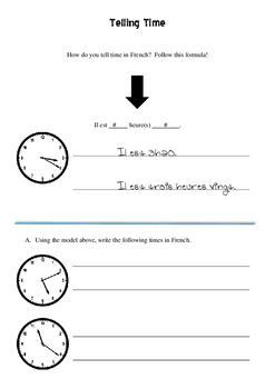 Telling time notes and worksheets