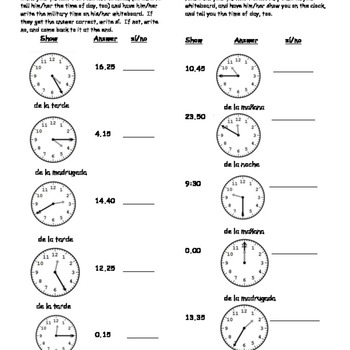 Telling time with 24 hour clock - partner practice