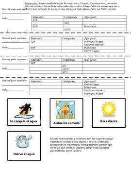 Temperature Homework Assignment Spanish