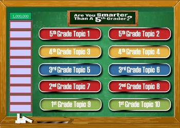 Are You Smarter Than a 5th Grader? -Template- PowerPoint G
