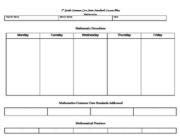 Template - Common Core State Standards Lesson Plan for Mat