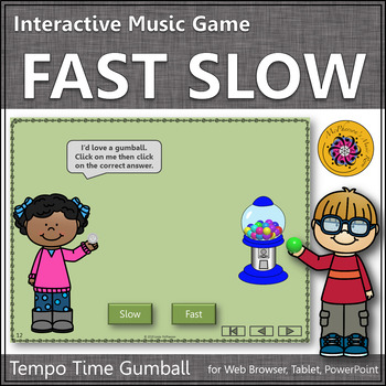 Tempo Time with Fast and Slow Interactive Music Game (gumball)