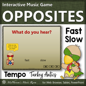 Tempo Turkey - Interactive Music Game (fast or slow)
