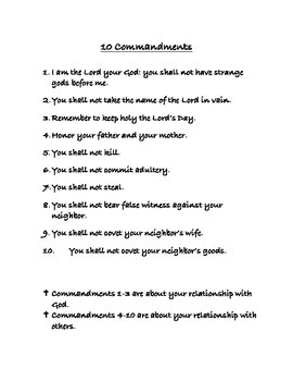 Ten (10) Commandments