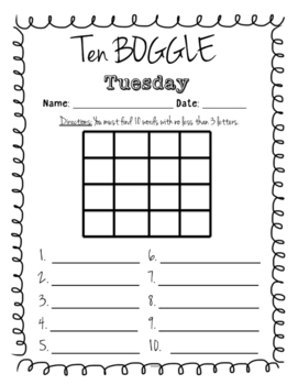 Ten Boggle Tuesday - (Morning Work)