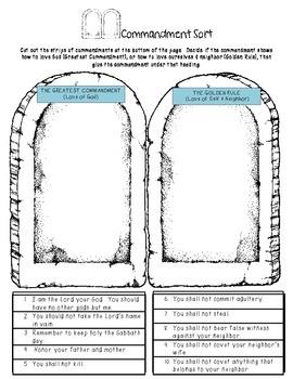 Ten Commandments Study guide and Activity Sort